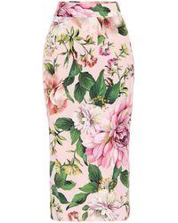 Dolce & Gabbana Floral Stretch-silk Pencil Skirt - Pink