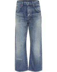 Saint Laurent Jeans rectos cropped de tiro alto - Azul