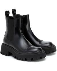 Balenciaga Chelsea Boots Tractor aus Leder - Schwarz