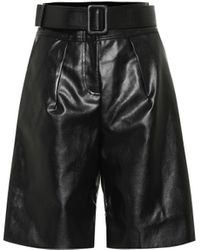 Self-Portrait Faux-leather Bermuda Shorts - Black