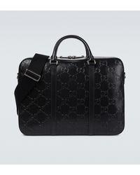 Gucci Ouverture Aktentasche aus Leder - Schwarz