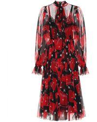 Dolce & Gabbana Printed Silk Midi Dress - Red