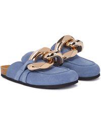 JW Anderson Verzierte Slippers aus Veloursleder - Blau