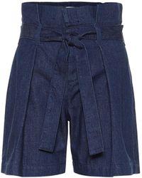 7 For All Mankind High-rise Denim Shorts - Blue