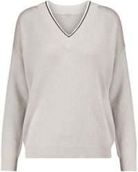 Brunello Cucinelli Embellished Cotton-blend Sweater - Natural