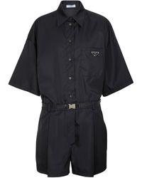 Prada Re-nylon Belted Logo Playsuit - Black