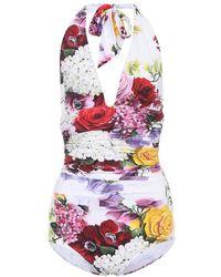 Dolce & Gabbana Costume intero a stampa floreale - Bianco