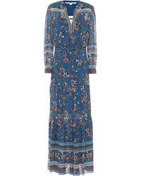 Veronica Beard Sama Floral Silk Fil Coupé Maxi Dress - Blue
