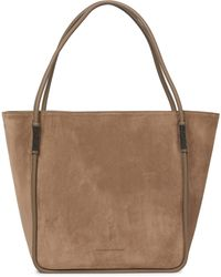 Brunello Cucinelli Softy Medium Leather-trimmed Tote - Brown