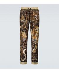 Dolce & Gabbana Bedruckte Pyjama-Hose aus Seide - Braun