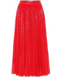 MSGM Sequined Pleated Midi Skirt - Red