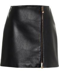 Versace Minifalda de piel de tiro alto - Negro