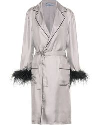 Prada Feather-trimmed Silk Robe - Grey