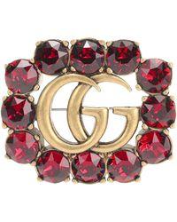 Gucci Brosche mit Kristallen - Mettallic