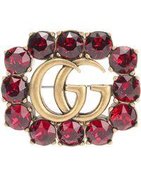 Gucci Crystal-embellished Brooch - Metallic