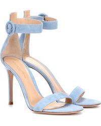 Gianvito Rossi Exclusivo en mytheresa – sandalias de gamuza Portofino 105 - Azul