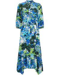 Stella McCartney Vestido camisero Olivia de seda floral - Azul