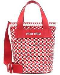 Miu Miu Straw Bucket Bag - Rot