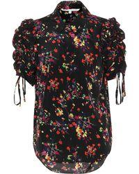 Veronica Beard Carmine Floral Stretch Silk Top - Black