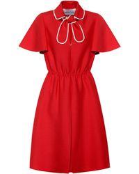 Valentino – Robe en laine et soie mélangées - Rouge