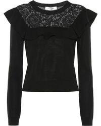Valentino Garavani Lace-trimmed Cotton Jumper - Black