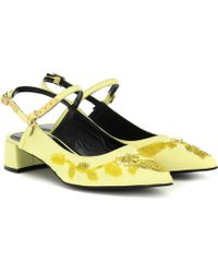 Erdem Aerin Floral-embellished Court Shoes - Yellow