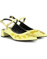 Erdem Aerin Floral-embellished Pumps - Yellow