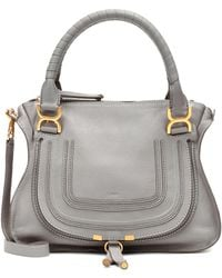 Chloé Marcie Medium Cashmere Gray Calfskin Leather Tote