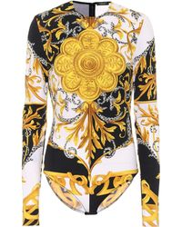 Versace Barocco Acanthus Stretch-jersey Bodysuit - Multicolour