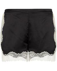 Stella McCartney Lace-trimmed Stretch-silk Shorts - Black