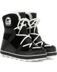 Sorel Glacy Explorer Shortie Suede Boots - Black