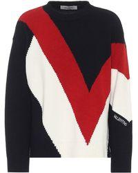 Valentino Pullover aus Wolle und Kaschmir - Blau