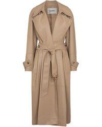 Nanushka Amal Faux Leather Trench Coat - Brown