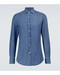 Brunello Cucinelli Chemise en jean - Bleu
