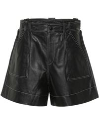 Ganni Leather High-rise Shorts - Black