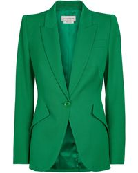 Alexander McQueen Virgin Wool Blazer - Green