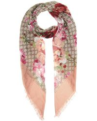 Gucci Scialle a stampa GG Blooms - Rosa