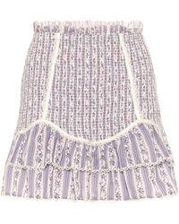 LoveShackFancy Raina Smocked Cotton Miniskirt - Multicolour