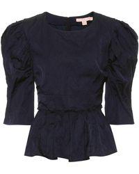 Brock Collection Qualita Jacquard Peplum Top - Blue