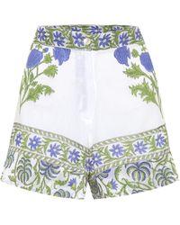 Juliet Dunn Shorts de algodón de tiro alto - Blanco