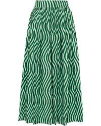 Dries Van Noten Falda midi de algodón estampada - Verde
