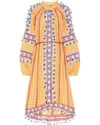 Dodo Bar Or Embroidered Cotton Midi Dress - Multicolor