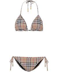 Burberry Bikini triangle imprimé à carreaux - Neutre
