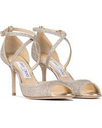 Jimmy Choo Emsy 85 Glitter Sandals - Metallic