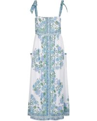 Juliet Dunn Robe midi en coton à fleurs - Blanc