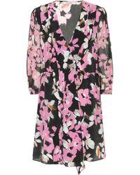 Dorothee Schumacher Robe portefeuille en soie mélangée à fleurs - Rose