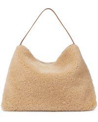 Altuzarra Duo Reversible Shearling Shoulder Bag - Natural