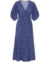 RHODE Wickelkleid Fiona aus Baumwolle - Blau