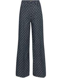 Gucci Jean ample GG en jacquard de coton - Bleu