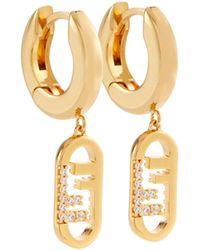 Fendi Pendientess O'Lock con adornos de cristal - Metálico